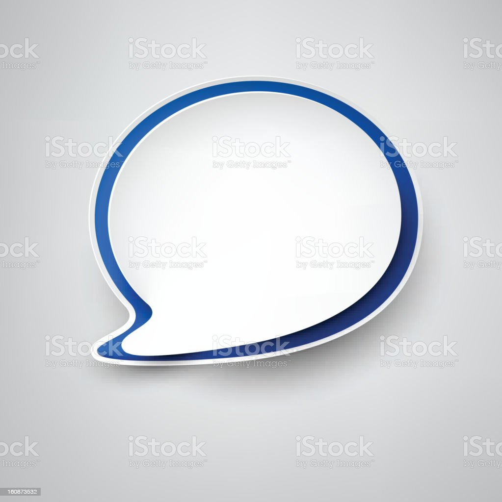 Paper white-blue speech bubble. royalty-free stock vector art