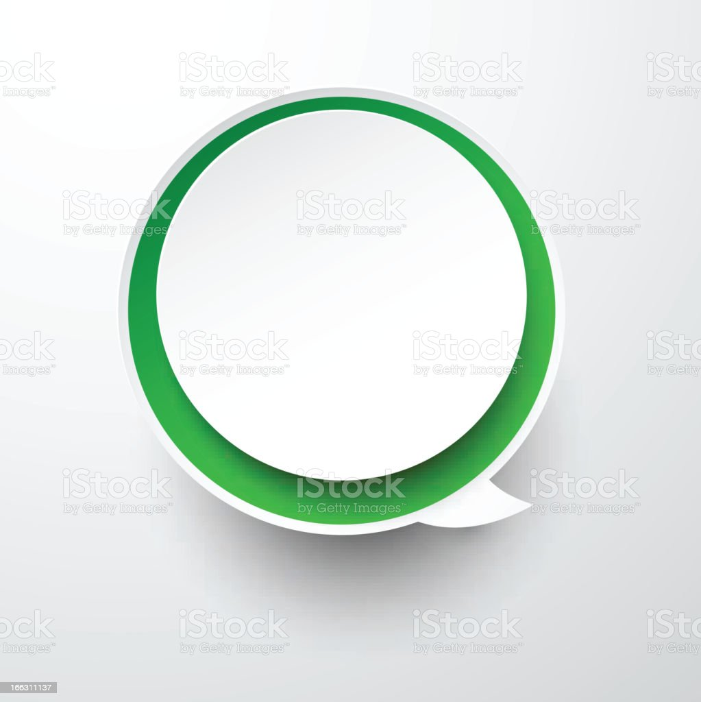 Paper white-green round speech bubble. royalty-free stock vector art