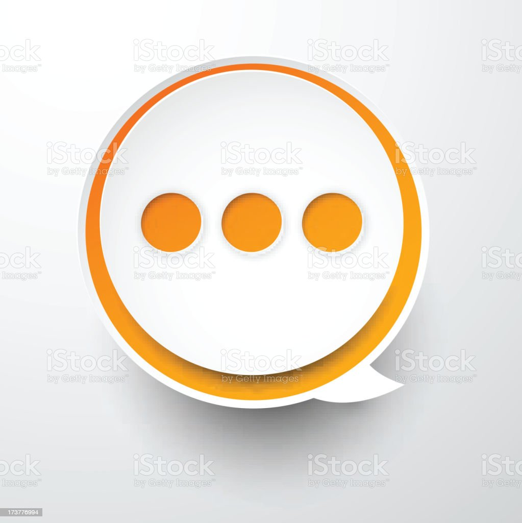 Paper white-orange round speech bubble. royalty-free paper whiteorange round speech bubble stock vector art & more images of abstract