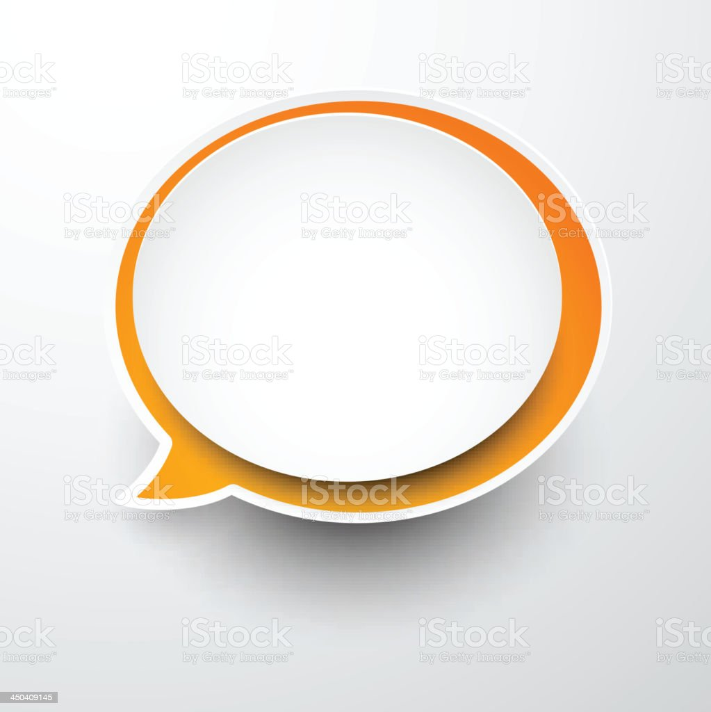 Paper white-orange round speech bubble. royalty-free stock vector art