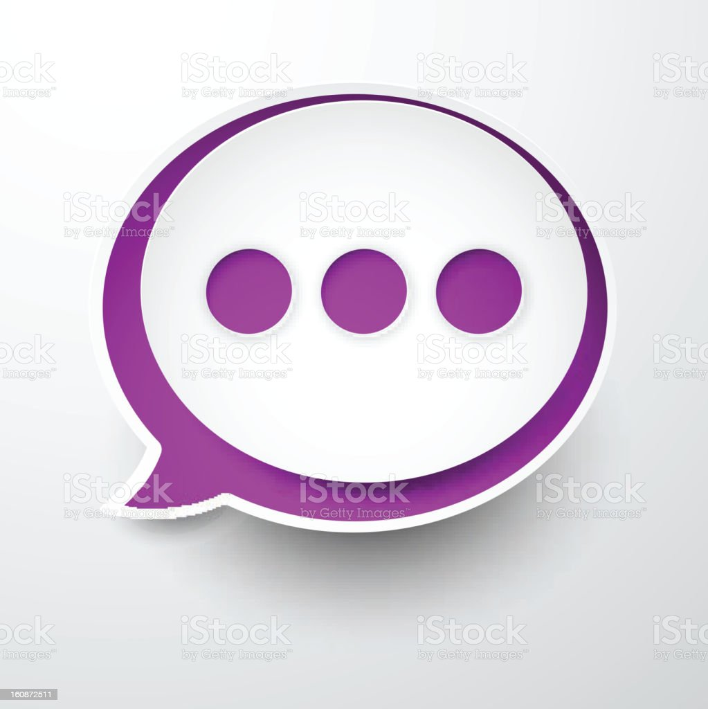 Paper white-purple round speech bubble. royalty-free stock vector art