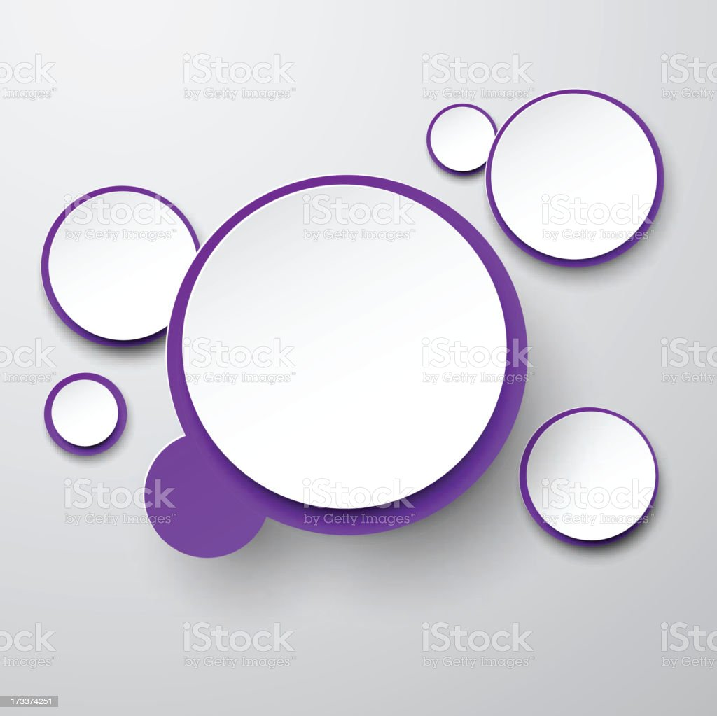 Paper white-violet round speech bubbles. royalty-free stock vector art