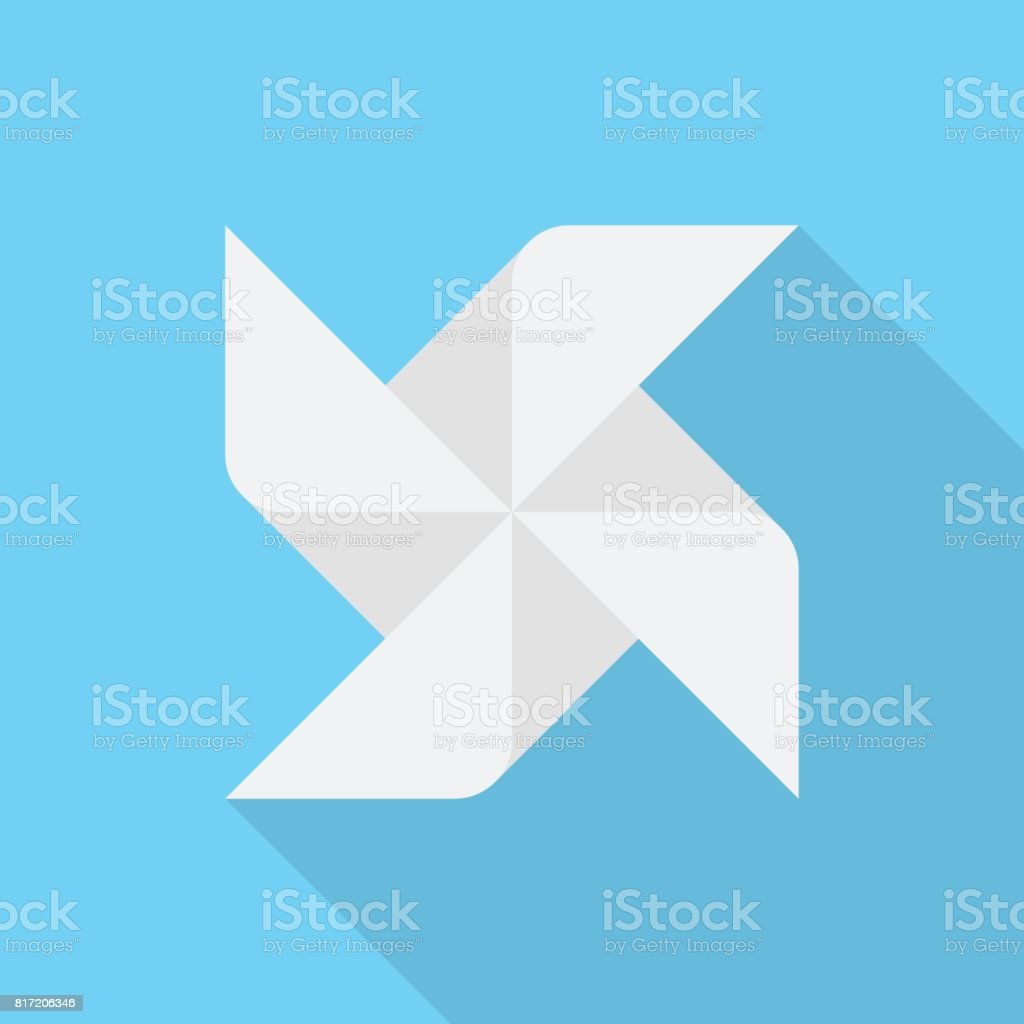 Paper windmill icon with long shadow on blue background, flat design style vector art illustration