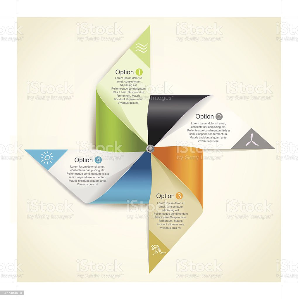 Ilustración de Molino De Viento De Papel Origami Que Representan Las ...