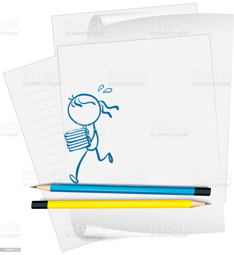 paper with a drawing of  girl bringing books royalty-free paper with a drawing of girl bringing books stock vector art & more images of artist
