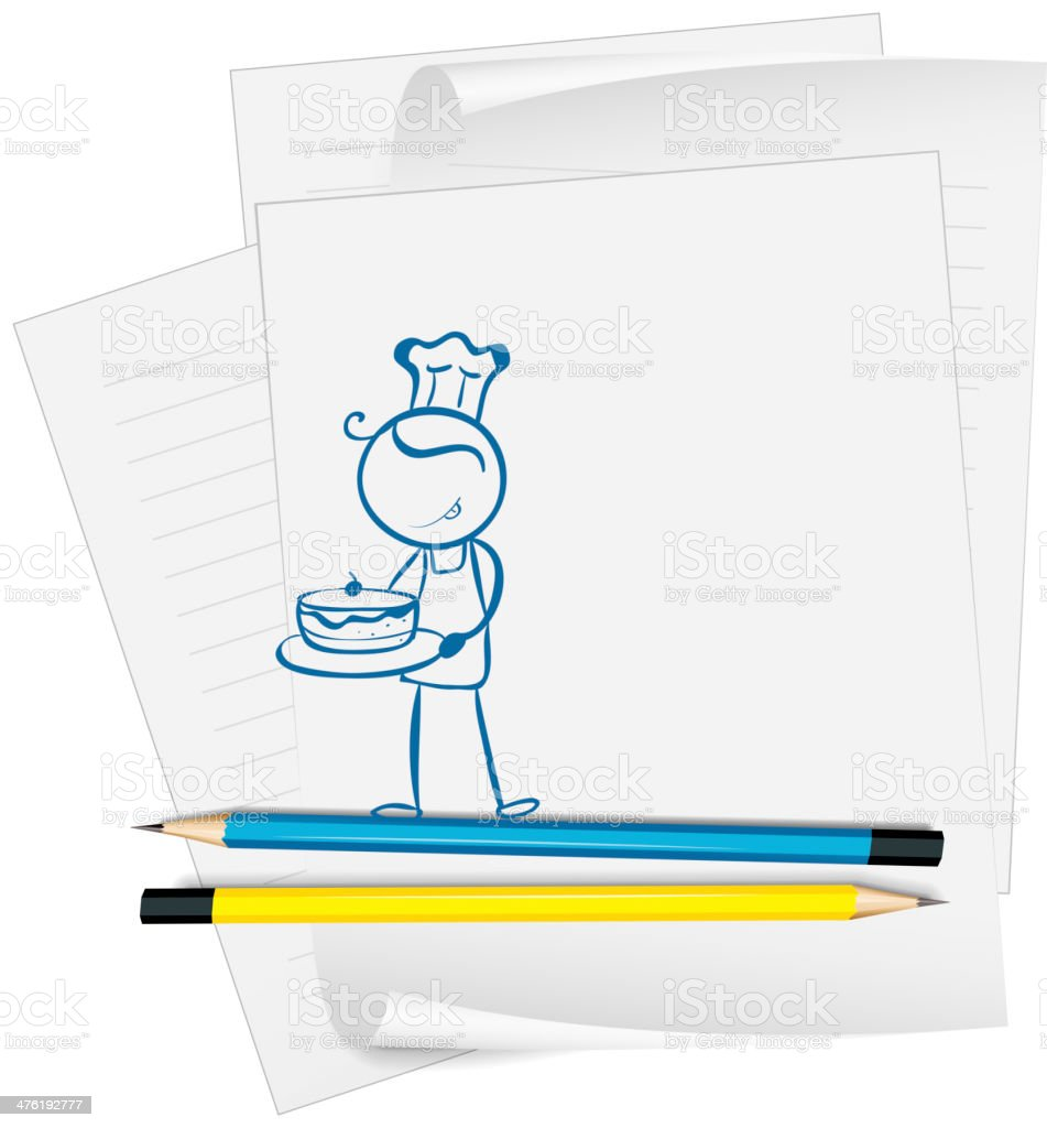 Paper with a sketch of chef royalty-free stock vector art