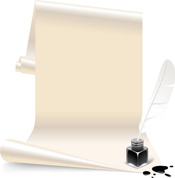 ilustrações de stock, clip art, desenhos animados e ícones de papel com um inkwell e feathe - tinteiro
