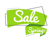 Vector illustration linear style. Bright promotion banner. flat bubble sticker or label. Text on green ribbon - spring sale.