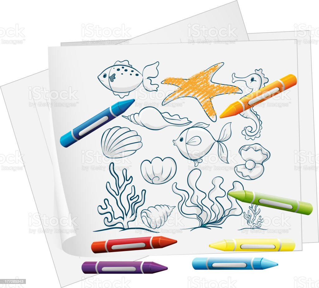 Paper with doodle design of the different sea creatures royalty-free stock vector art