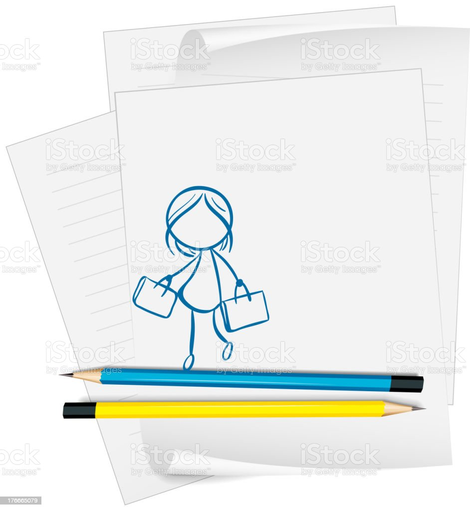 paper with  drawing of a girl holding two bags royalty-free paper with drawing of a girl holding two bags stock vector art & more images of accessibility