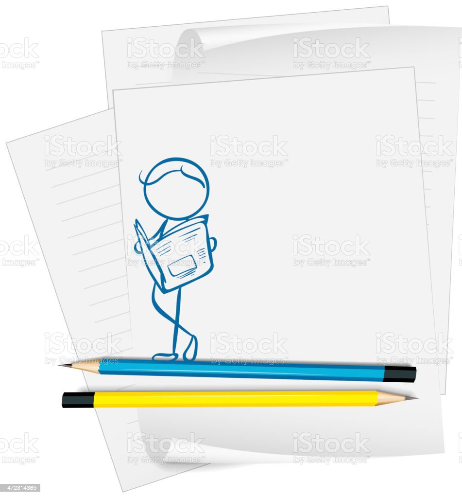 Paper with drawing of man reading a  newspaper royalty-free stock vector art