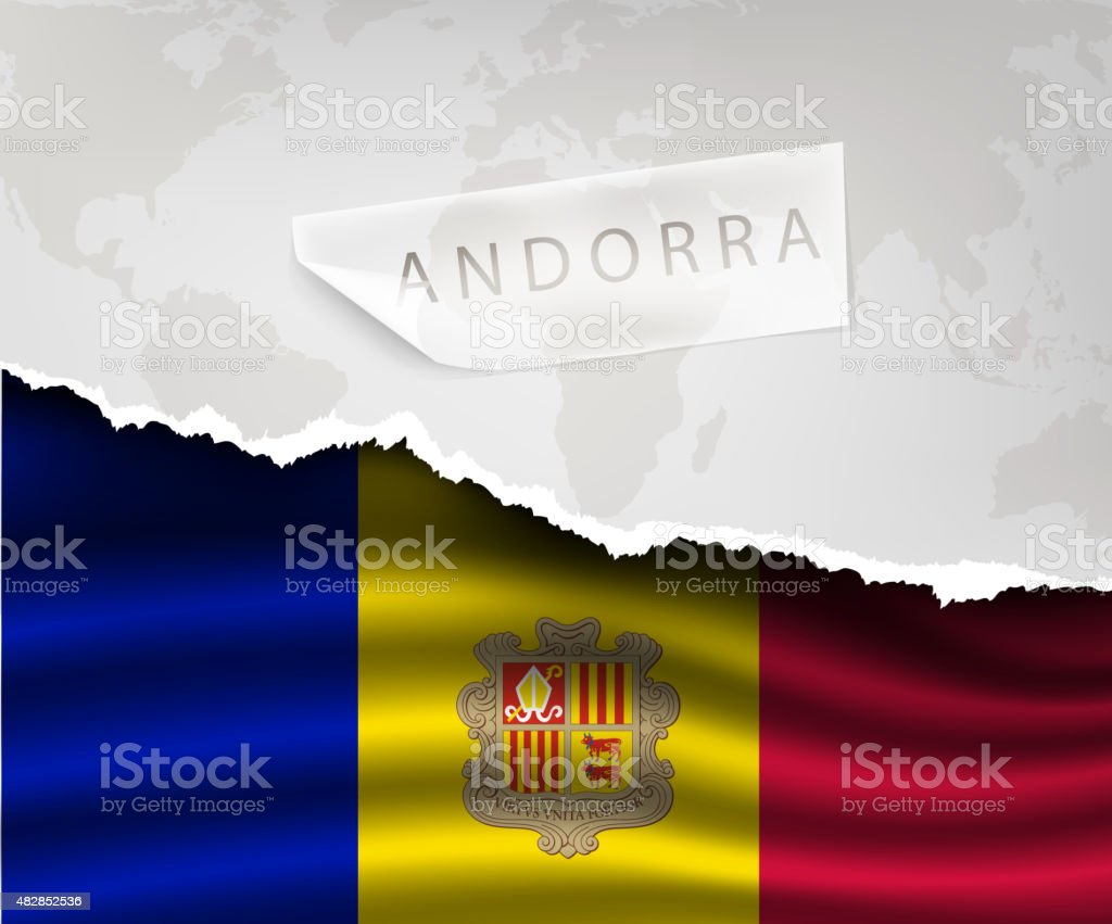 paper with hole and shadows andorra flag vector art illustration
