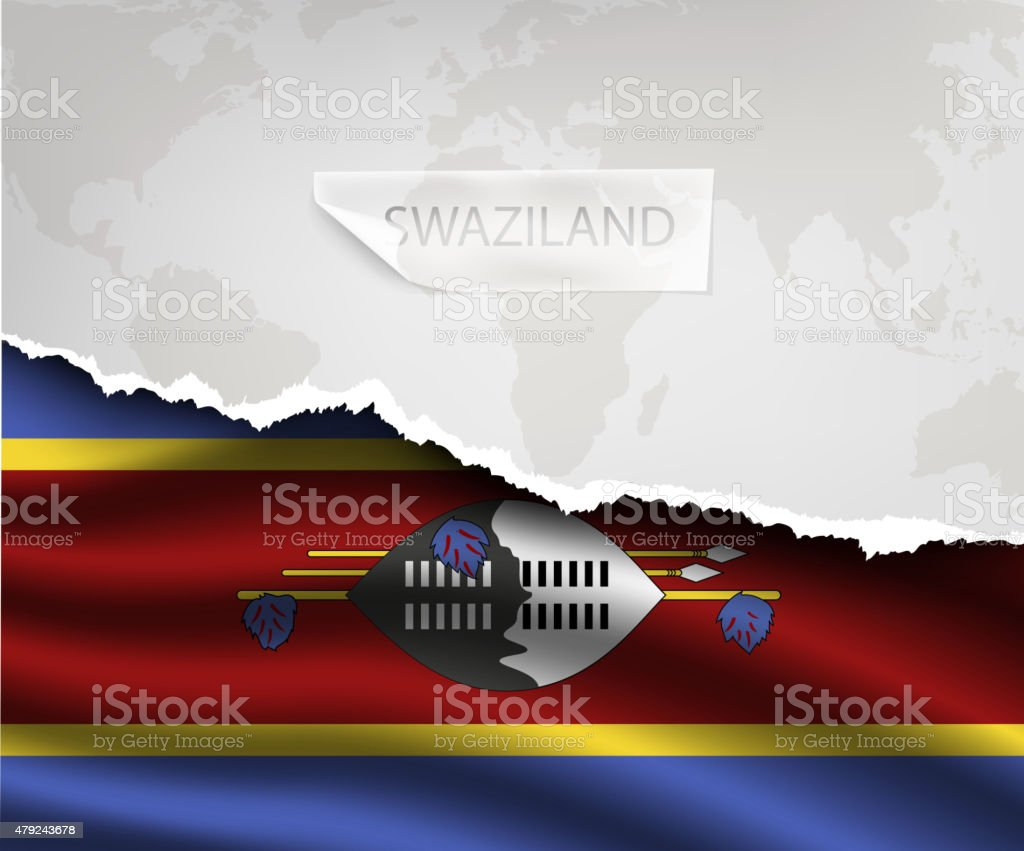 paper with hole and shadows SWAZILAND flag vector art illustration