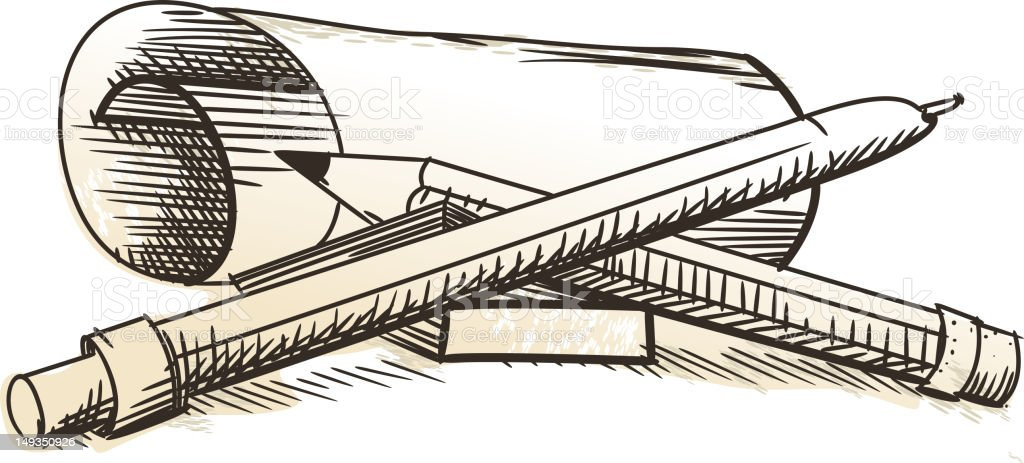 Paper with pen and pencil. royalty-free stock vector art