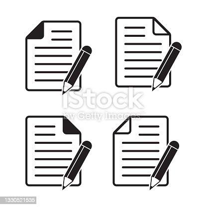 istock Paper with pencil icon. Document icon vector illustration. Edit icon symbol vector. 1330521535