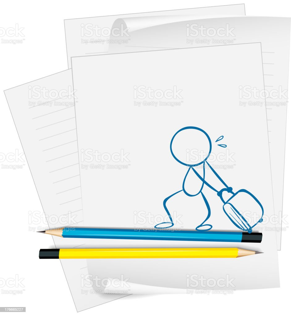 Papel con boceto de niño tirando una bolsa ilustración de papel con boceto de niño tirando una bolsa y más banco de imágenes de adulto libre de derechos