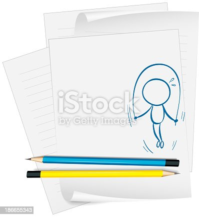 paper with a sketch of a child playing jumping rope on a white background