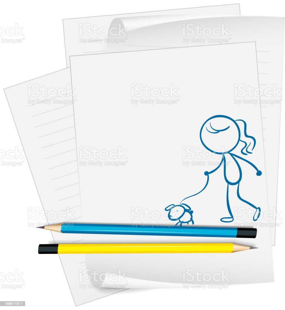 Paper with sketch of girl and dog royalty-free stock vector art