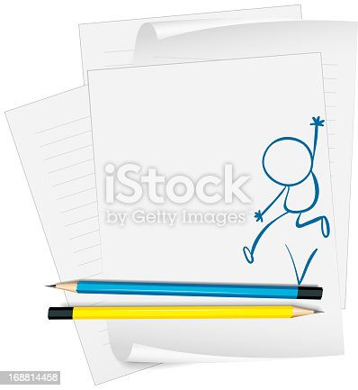 Paper with a sketch of a young boy jumping on a white background