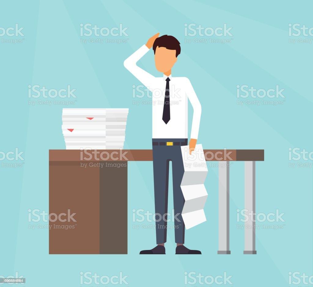 Trabajo en oficina. Hombre de negocios haciendo un informe. - ilustración de arte vectorial