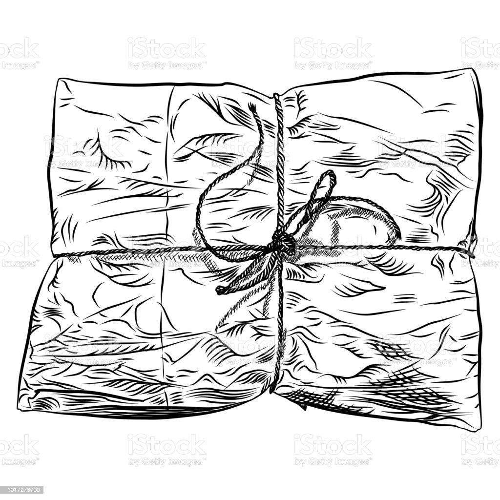 Ilustración De Caja De Regalo Suave Envuelta En Papel Dibujo