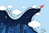 istock paper-airplane-fly-dark-blue-background 1267508162
