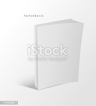 A paperback book. Empty vector template. Realistic mockup book, magazine, textbook, catalog, journal.