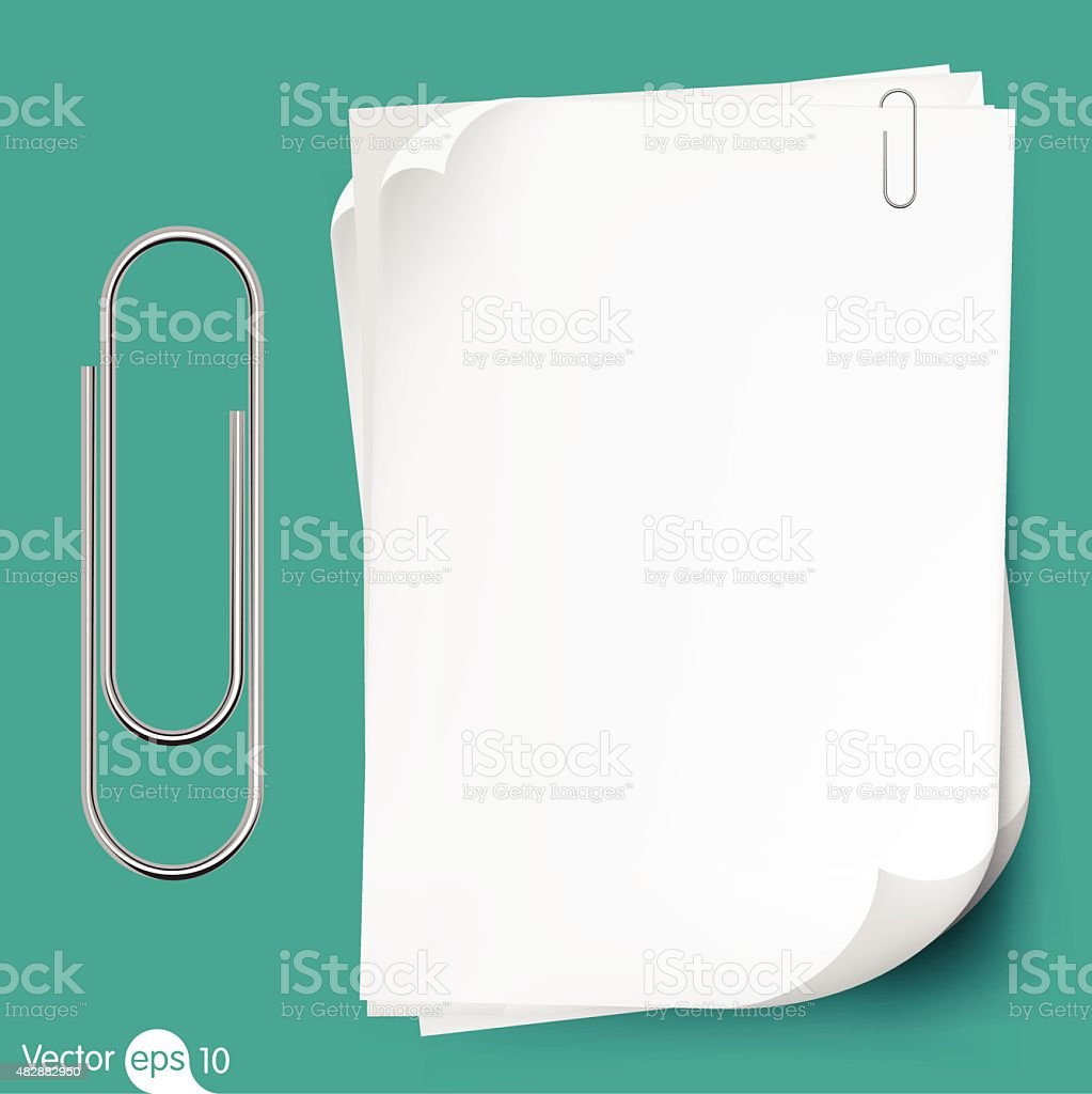 Paperclip holding a blank paper sheet vector art illustration