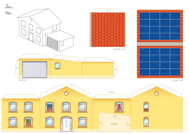 Papercraft model of a house with solar thermal collector on the roof, photovoltaic technology - cut-out sheet for making a scale model house and for promotion of ecological education. Papercraft model of a house with solar thermal collector on the roof, photovoltaic technology - cut-out sheet for making a scale model house and for promotion of ecological education. dollhouse stock illustrations