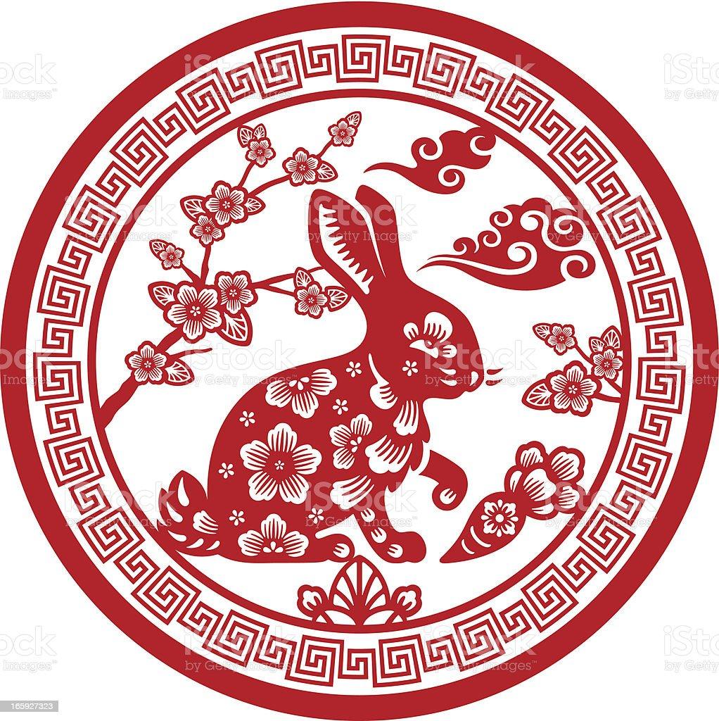 papercut chinese zodiac sign rabbit stock vector art