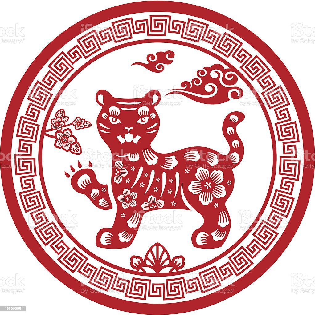 Papercut Chinese Zodiac sign - Tiger royalty-free stock vector art