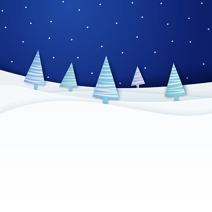 Papercut Christmas scene with night sky and fir trees