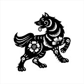 2018, year of the dog, happy new year, lunar new year, chinese new year, korean new year, Tet,, paper-cut dog