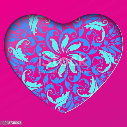 istock Papercut Heart Frame with Floral Mandala Pattern. Valentines day Greetings card. Realistic papercut with blue flowers and leaves. Colorful Floral bouquet. 1248736973
