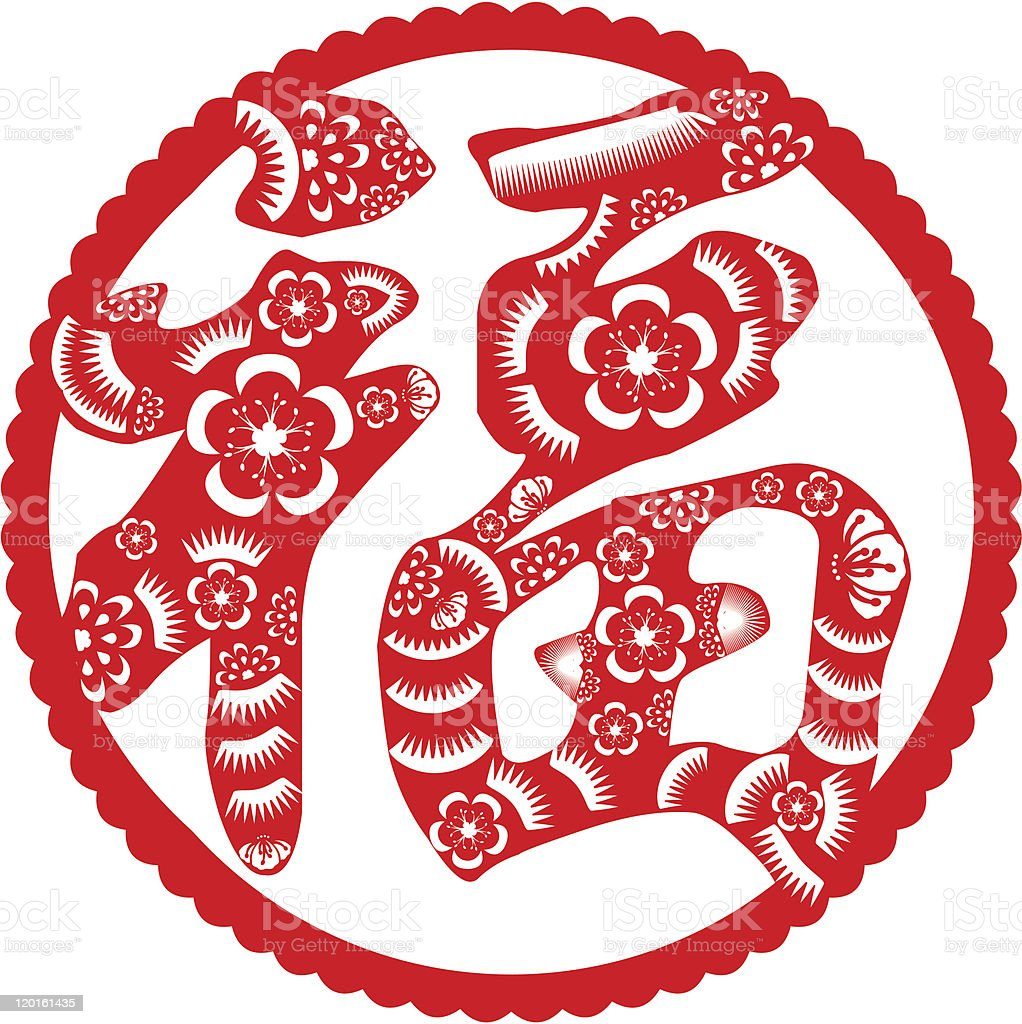 Papercut of good fortune in chinese stock vector art more images papercut of good fortune in chinese royalty free papercut of good fortune in biocorpaavc Choice Image