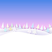 Winter scene with copy space. Vector illustration with gradients and transparencies. The EPS file is organised in layers and groups for easy editing.