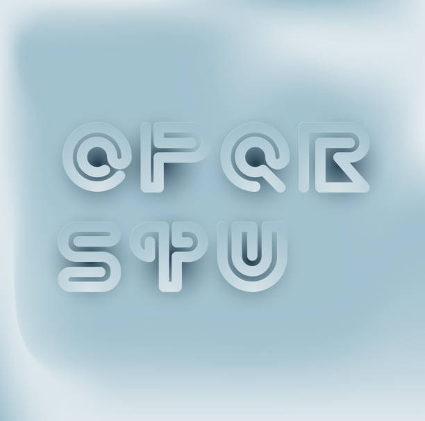 Juego de fuentes de rayas de serpiente de corte de papel 3D. O,P,Q,R,S,T,U - ilustración de arte vectorial