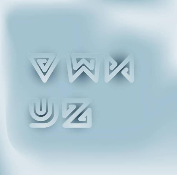 Juego de fuentes de rayas de serpiente de corte de papel 3D. V,W,X,Y,Z - ilustración de arte vectorial