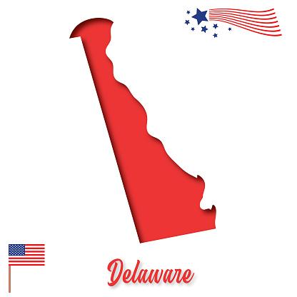 USA Paper-Cut State Map: Delaware