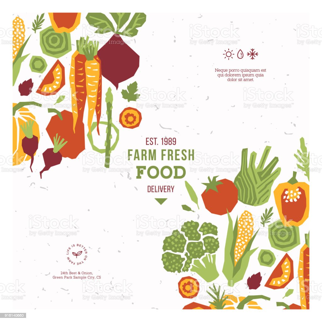 papercut style vegetables design template organic vegetables vector