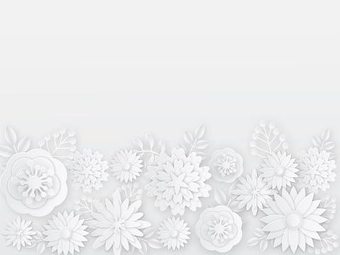 Papercut white flowers. Spring, summer paper origami floral elements. Creative composition bouquet, sakura ornament, wedding card templates