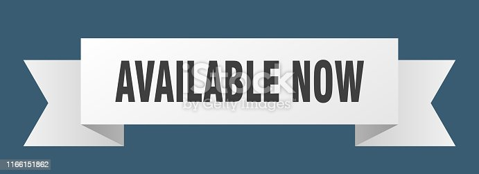 available now ribbon. available now isolated sign. available now banner