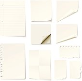 Vector illustration of blank notes and papers on white background. Download includes high resolution jpeg.