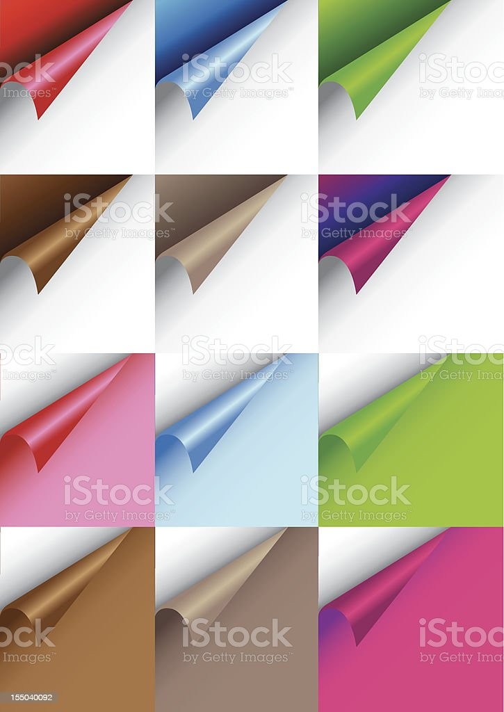 Papers with curve corner vector art illustration