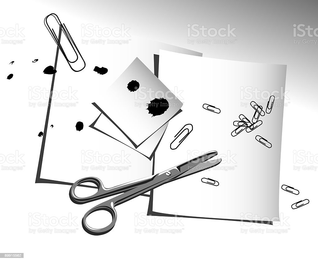 paper,scissors and clips royalty-free paperscissors and clips stock vector art & more images of arranging