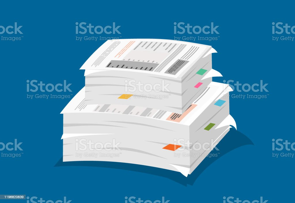 Ilustración de papeleo. Pila de ilustración en papel. - arte vectorial de Archivo libre de derechos
