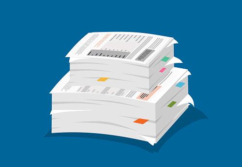 Ilustración de Ilustración De Papeleo Pila De Ilustración En Papel y más Vectores Libres de Derechos de Archivo