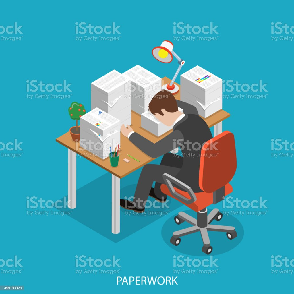 Paperwork isometric flat vector concept. vector art illustration