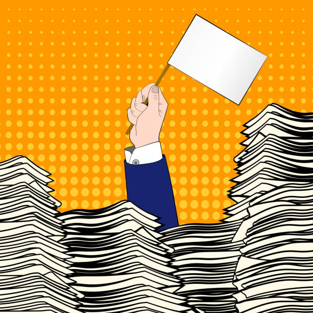 Paperwork. Pop art. Overworked man. Time management. Pile up vector art illustration