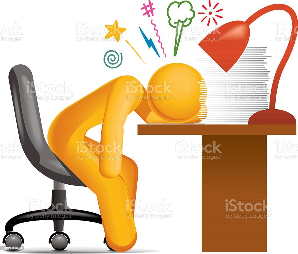 Paperwork Stress vector art illustration